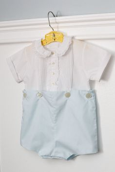 12 months: Blue and White Button Romper Suit Front