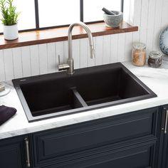 """33"""" Algren Double-Bowl Drop-In Granite Composite Sink - Black - Kitchen"""