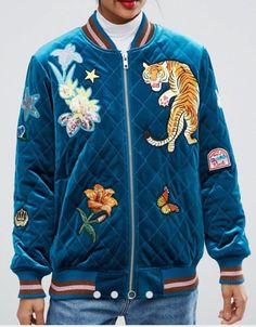 d748b061f30 NWT Asos Velvet quilted Tiger Flower Bomber Varsity Jacket Teal US Size 6   varsity
