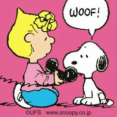 .Snoopy talking on the phone.