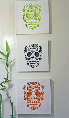 #skull #art #white #green #black #orange #cutout