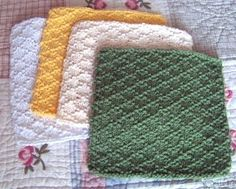 """Lattice Stitch Dishcloth.  CO 37 stitches  Row 1(rs):  K3, *P1, K5; rep. from * to last 4 sts, P1, K3.  Row 2(ws): P2, *K1, P1, K1, P3; rep. from * to last 5 sts, K1, P1, K1, P2.  Row 3: K1, *P1, K3, P1, K1; rep. from * to end of row.  Row 4:  K1, *P5, K1; rep. from * to end of row.  Row 5: Repeat row 3.  Row 6: Repeat row 2. Repeat rows 1-6 until dishcloth measures 8½"""" from CO edge ending with row 6 (for me that was a repeat of 9 times).  BO. Weave in your ends.Block and colorfast."""