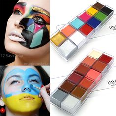 Cheap face body paint, Buy Quality body paint directly from China art face painting Suppliers: IMAGIC 12 Colors Flash Tattoo Face Body Paint Oil Painting Art Halloween Party Fancy Dress Beauty Makeup Tools Schulterpanzer Tattoo, Flash Tattoo, Tattoos, Lotus Tattoo, Art Halloween, Halloween Makeup, Halloween Decorations, Tattoo Gesicht, Waterproof Makeup