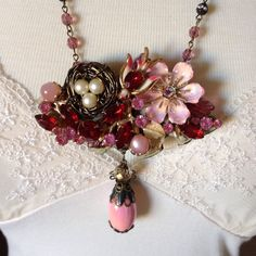 Spring has sprung! Miriam Haskell pearl bird nest, Coro bird assemblage, handmade, OOAK added today...