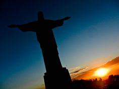 Christ The Redeemer Statue At Sunset: Rio De Janeiro