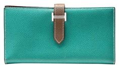 Hermes Bicolor Epsom Barn Long Wallet Green, Etoupe. Get the lowest price on Hermes Bicolor Epsom Barn Long Wallet Green, Etoupe and other fabulous designer clothing and accessories! Shop Tradesy now