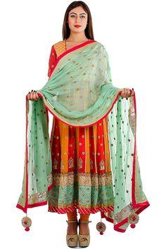 Beige Chanderi Silk Anarkali Suit with Neon Pink Embellishment. Shop Indian suits at Bazzzar.com
