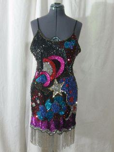 Vintage 80s Beaded Sequin  Silk POP ART Multi Color Fringed Cocktail Party Dress #FantasybyLisaKane