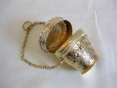 Dutch Hallmarked Repousse Gilt Silver Alloy Chatelaine Coin Purse .833