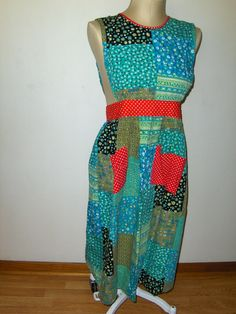 1d0b14e8113 Vintage Design House Apron Patchwork Maxi with Pockets and Open Back