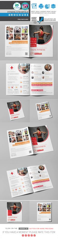 Fitness Gym Bifold / Halffold Brochure Fitness, Gym and Brochures - half fold brochure template