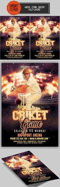 Cricket Games, Sports Flyer, World Championship, Flyer Template, World Cup, Templates, Flyer Design, England, Indian