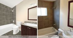 On the left, the website generated rendering, on the right, the final finished product.  Visit Rapid Remodel for your future kitchen or bathroom remodeling needs.