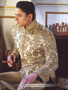 Cream #wedding #sherwani, embellished collar, embroidered front, back and sleeves http://www.needlehole.com/cream-wedding-sherwani-embellished-collar-embroidered-front-back-and-sleeves.html $Deepak parwani $sherwani for men and sherwani #suits usa. Pakistani wedding sherwani suits and indian men's sherwani collection by deepak perwani sherwani stores in usa, uk