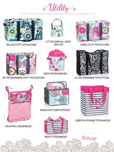 A closer look at Thirty-One Utility. Everything you could ever want to tote around your stuff! deluxe utility tote, littles carry-all, large utility tote, zip-top organizing utility tote (ZOUT), cinch-top bin, all day organizing tote, on a stroll bag, double duty caddy, essential storage tote, keep-it tote. #31 #thirtyone