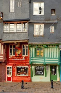 Harbour side restauarants and shops. Honfleur, Normandy, France