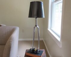 Recycled Bicycle Lamp Upcycled Lamp by Winterwomandesigns