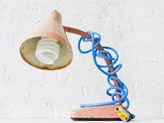 Vintage Industrial Desk Lamp Pale Pink Retro by EarthSeaWarrior, $185.00