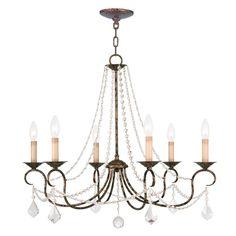 Shop Livex Lighting Pennington 6-Light Venetian Golden Bronze Chandelier at Lowes.com