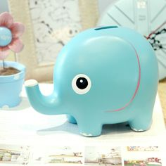 12cm tall hand painted eco-friendly resin safe money box elephant shaped safe money bank kids