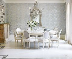 Silver leaf perimeter painted wood floors and large-scale wall covering @Traditional Home