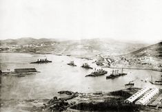 Port Arthur in 1904 following the Japanese siege of the home base of the Imperial Russian Navy's Pacific fleet with the wreckage of the Czars fleet.
