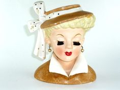 Vintage Napco Lady Head Vase 1959 Dressed in Tan by ChromaticWit, $39.99