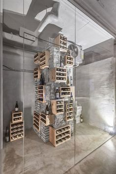 Seoul-based designer Jeonghwa Seo has constructed custom furniture to complement the raw concrete interior of Et Cetera, a cafe and wine bar. Wine Bar Furniture, Custom Furniture, Furniture Design, Furniture Ideas, Wine Shop Interior, Cafe Interior, Interior Design, Retail Interior, Seoul Cafe