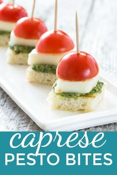 These bite size Caprese Pesto Bites are the perfect appetizer and learn how to make your own pesto! It's These bite size Caprese Pesto Bites are the perfect appetizer and learn how to make your own pesto! Easy To Make Appetizers, Cold Appetizers, Easy Appetizer Recipes, Appetisers, Appetizers For Party, Easy Appitizer, Easy Vegetarian Appetizers, Caprese Appetizer, Gastronomia