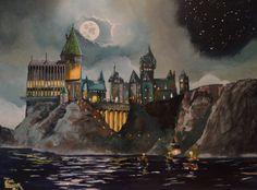 Handpainted Depiction of Hogwart's Castle