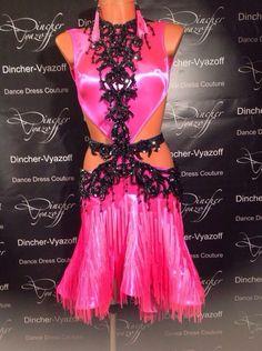 pink and black lace latin dress Latin Ballroom Dresses, Latin Dresses, Custom Dance Costumes, Couture Dresses, Dance Wear, Designer Dresses, Wall Photos, Burlesque, Image