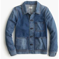 J.Crew Denim Workwear Jacket (320 BAM) ❤ liked on Polyvore featuring outerwear, jackets, blue denim jacket, denim jacket, j crew jacket, j.crew and button jacket