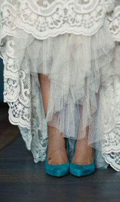I love the idea of blue shoes.  I think traditional wedding shoes are so boring!