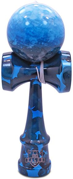 Blue Ocean Marble Kendama - Unique fully marble painted with baby blue, blue & black swirled together to make this stylized deep ocean themed Kendama.  Kaleb Kendama brings the simple yet extremely fun Japanese ball and cup toy to you. Made of solid wood and will come exactly as pictured. EXTRA replacement string included with every Kendama.