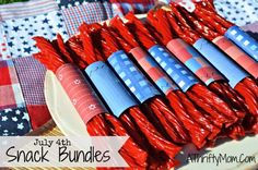 4th of july snack bundles, quick and easy treat for your red white and blue party