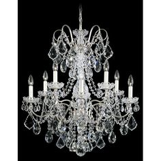 Crystorama Lighting Group Hampton Antique White Ornate Chandelier Draped With Clear Hand C