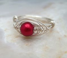 Wire Wrapped Ring with Red Glass Pearl & Silver Plated Wire £11.75