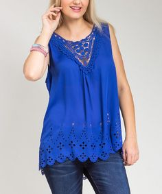 Another great find on #zulily! Royal Blue Crochet Hi-Low Tank - Plus by Buy in America #zulilyfinds
