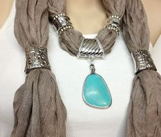 jewelry scarf taupe color cotton long jewelry scarf with natural turquoise gemstone pendant christmas birthday mothersday best gift