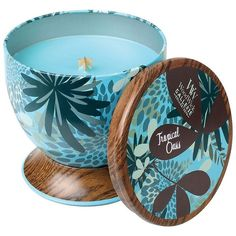 WoodWick Gallerie Tropical Oasis 8.5-oz. Candle Tin (€13) ❤ liked on Polyvore featuring home, home decor, candles & candleholders, tropical, tin candles, scented tin candles, fragrance candles, colored candles and wick candles