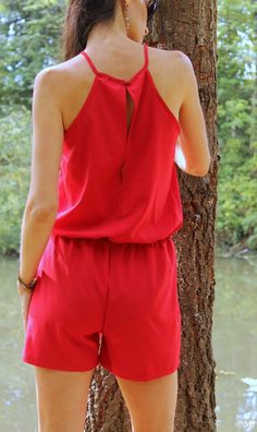 Red romper, back view