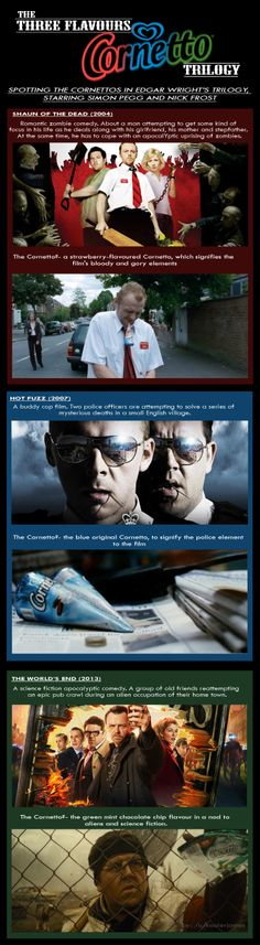 """Post with 91 votes and 762 views. The Cornettos in Edgar Wright's the """"Three Flavours Cornetto Trilogy"""" Simon Pegg, Movie Trivia, Movie Facts, Nick Frost, Geek Movies, The Three Musketeers, Lost Girl, Great Tv Shows, Great Films"""