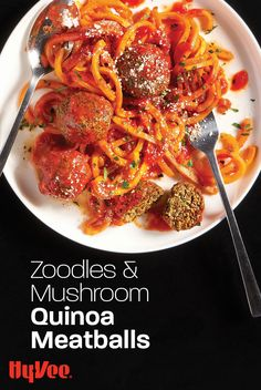 """We love that these quinoa-based """"meatballs"""" hold their shape and have a firm texture. Use them to top quick cooking zucchini noodles or pasta with your favorite red sauce. We use a brand from Italy called Gustare Vita because it's authentically made and super affordable. You could also make this vegetarian meal vegan by skipping the Parmesan on top. Find everything you need to make this plant-based """"spaghetti & meatballs"""" dinner at your local Hy-Vee. Or shop online at Hy-Vee.com."""