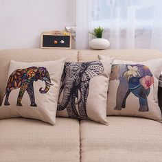Square 45X45CM European Vintage Colorful Elephant Printed Pillow Case Animal Cushion Cotton linen Cover Throw pillow case Y2 #>=#>=#>=#>=#> Click on the pin to check out discount price, color, size, shipping, etc. Save and like it!