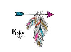 Clipart arrow and feather ethnic Boho style, Bohemian feather design, vector, decoration cards, printing for scrapbooking logo feather - Tasha Englert - Arrow Feather, Feather Art, Feather Design, Feather Tattoos, Arrow Tattoos, Feather Drawing, Arrow Drawing, Tattoo Indien, Machine Silhouette Portrait