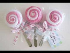 DIY Washcloth Lollipops and Baby Sock Roses/ How to make a Washcloth Lollipop DIY (Tutorial) - YouTube