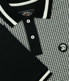 a5931304844 Trojan Records Black Houndstooth Polo Shirt