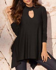 1c6f6b4887 Asymmetrical keyhole top for women plain black long t shirt Plain Black