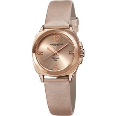 Akribos XXIV Rose Gold-tone Base metal Ladies  Watch found on Polyvore featuring jewelry, watches, square watches, rose gold tone watches, rose gold tone jewelry, dial watches und akribos xxiv watches