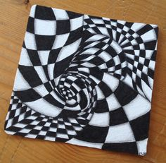 Nr. 26 März 2016 Square ohne Zentangle Knightsbridge monotangle, I enjoyed this tangle it so exciting changing the line direction and become new optics. Happy Easter to all